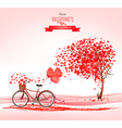 Valentines Day background with a heart shaped tree vector image vector image