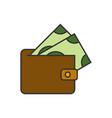 wallet with banknote icon vector image vector image