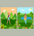 womens holiday female with bouquet nature vector image vector image