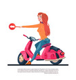 young girl riding electric scooter hold road sign vector image