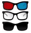 Set of glasses Eyeglasses sunglasses 3D glasses vector image