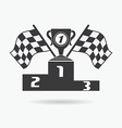 Flag icon Checkered or racing flags first place vector image