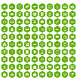 100 payment icons hexagon green vector image vector image