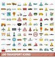 100 transport icons set flat style vector image vector image