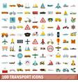 100 transport icons set flat style