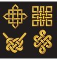 Auspicious Endless knots setBuddhist symbolGold vector image