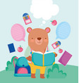 back to school cute bear reading book backpack vector image vector image