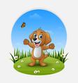 cartoon happy dog waving hand vector image vector image