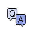 chat cloud question with answer sign flat color vector image