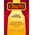 Circus show poster template with sign and light vector image vector image