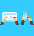 digital signature concept signing on tablet pc vector image