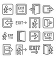 exit icons set on white background line style vector image vector image