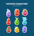 fantastic characters stickers set cute funny vector image