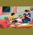 father playing guitar with his son vector image vector image
