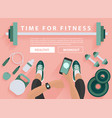 fitness equipment flat concept with woman hand vector image