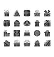 gift black silhouette icons set vector image