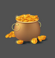 golden coins in old bronze pot icon vector image vector image
