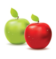 Green apple and red apple vector image vector image