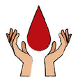 hands with blood drop donation campaign vector image vector image