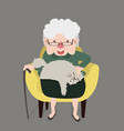 happy grandmother sitting yellow modern chair vector image