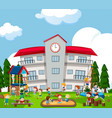 happy kids playing on playground vector image vector image