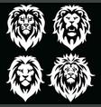 lion logo mascot set icon black and white vector image vector image