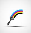 logo cmyk rainbow and paint brush vector image vector image