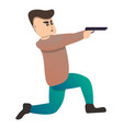 man pistol shooting sport icon cartoon style vector image vector image