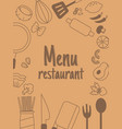menu restaurant with line icon vector image