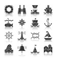 nautical black silhouette with reflection icon set vector image