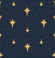 navy starry sky celestial seamless pattern vector image