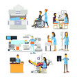people characters in hospital vector image vector image