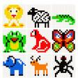 Pixel art animals set