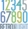 Poster retro light colorful numbers with stripes vector image