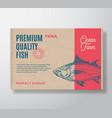 premium quality fish realistic cardboard box vector image vector image