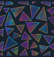 rainbow triangles with neon lines seamless pattern vector image