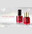 red nail polish realistic promo banner vector image vector image
