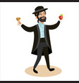 rosh hashanah jew man in traditional clothes vector image vector image