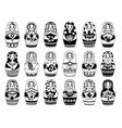 russian dolls collection monochrome traditional vector image