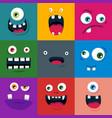 set cartoon cute monster faces flat vector image