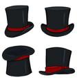 set magicians black cylinder hat vector image vector image