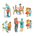 set of pediatrician doctor doing medical exam vector image vector image