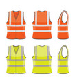 set orange and yellow safety vests vector image