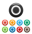 single tire icons set color vector image vector image