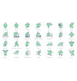 sport people simple line icons vector image
