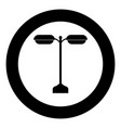 street light or lamp black icon in circle vector image vector image