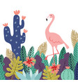 summer tropical background banner flamingo bird vector image