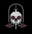 sword through a skull with a knife and roses vector image vector image