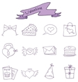 Valentine day icons style collection vector image