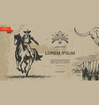 vintage monochrome wild west template vector image